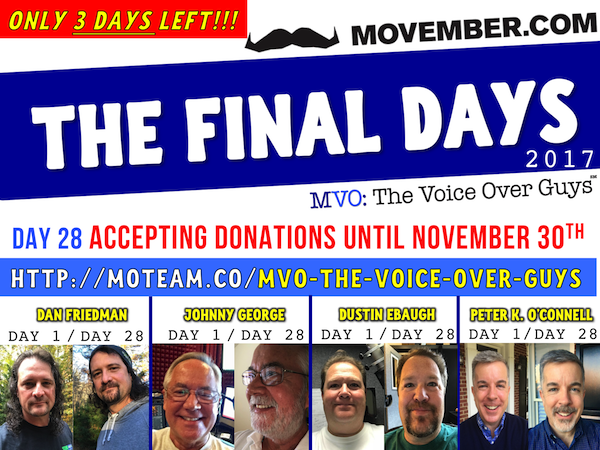 Movember Poster FINAL COUNTDOWN 600 Friedman, George, Ebaugh, O'Connell